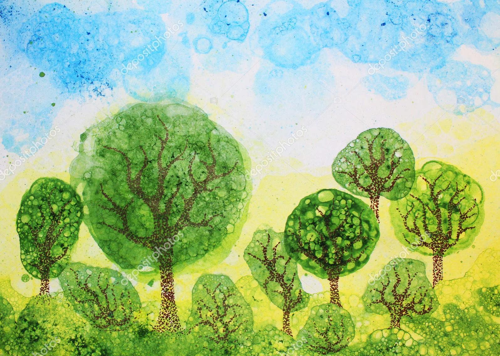 """""""Лиственный лес"""", стилизация, акварель"""
