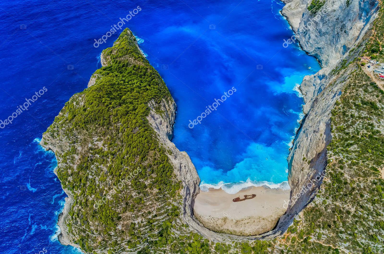 Аэрофотоснимок пляжа в Греции