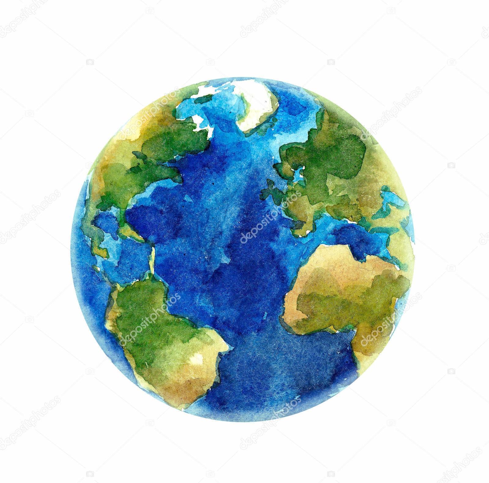 Земля, акварель