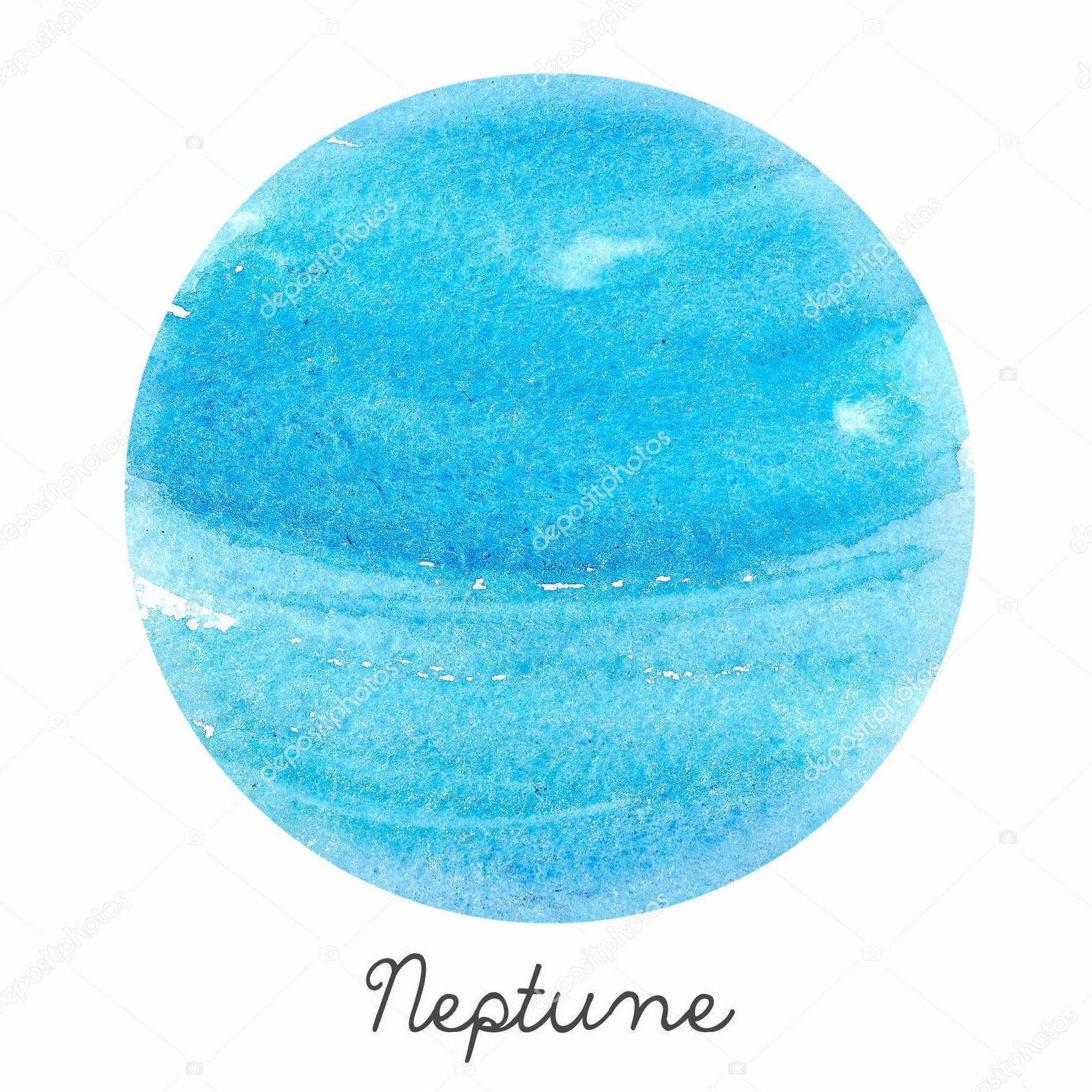 Нептун, акварель