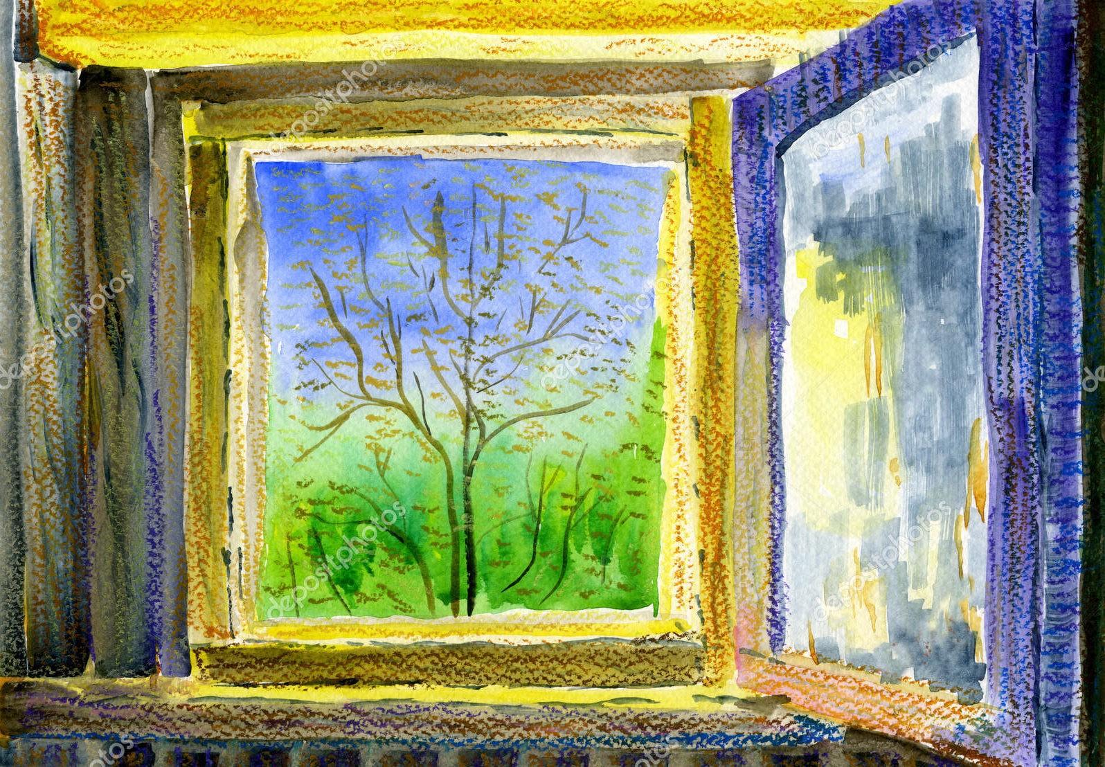 Вид в весенний сад, пастель
