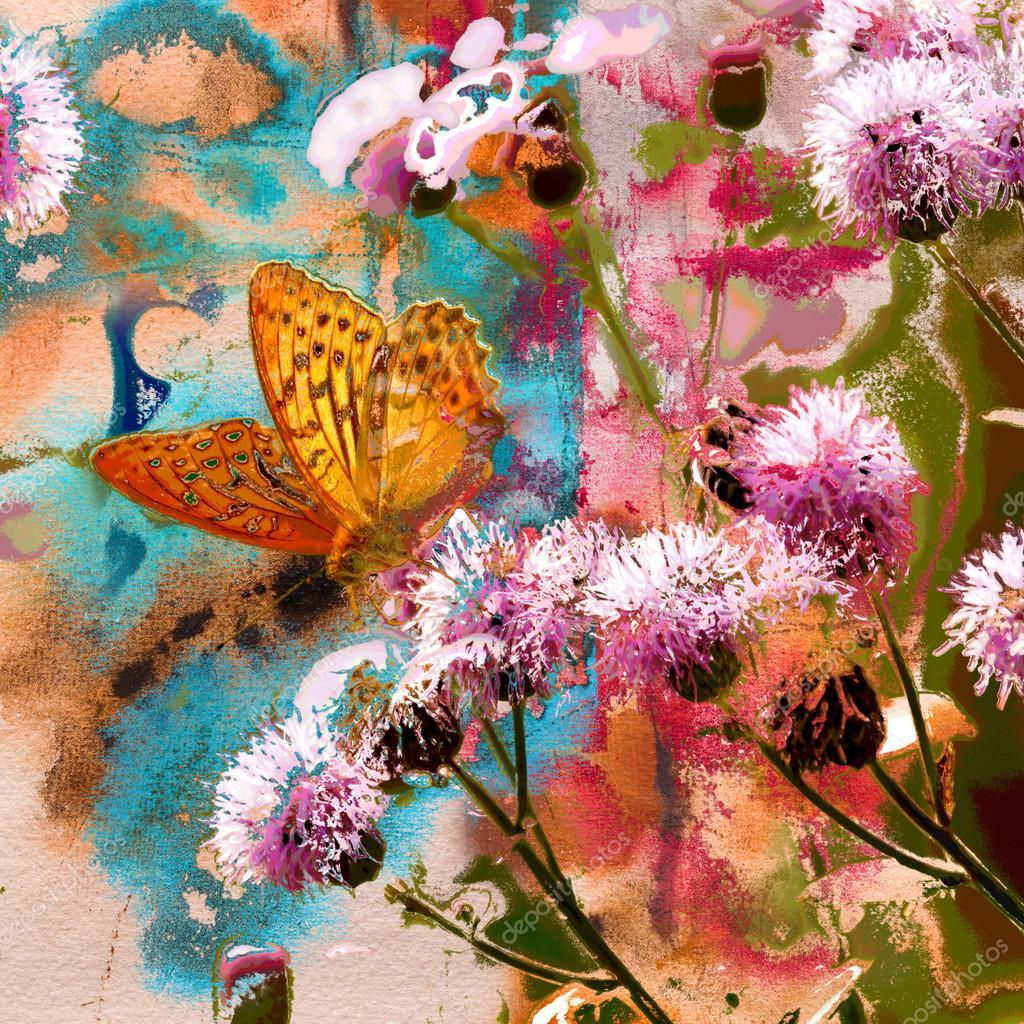 Бабочка на цветах расторопши