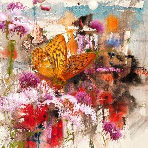 """Абстрактный фон """"Цветы и бабочка"""""""
