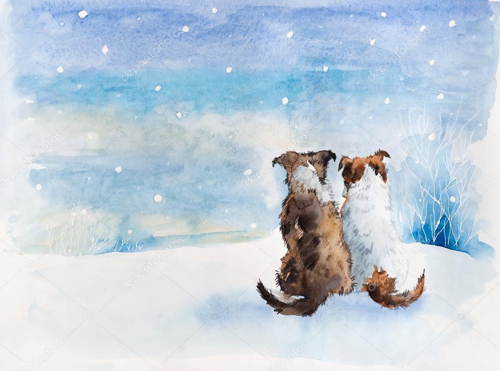Две собачки, зима