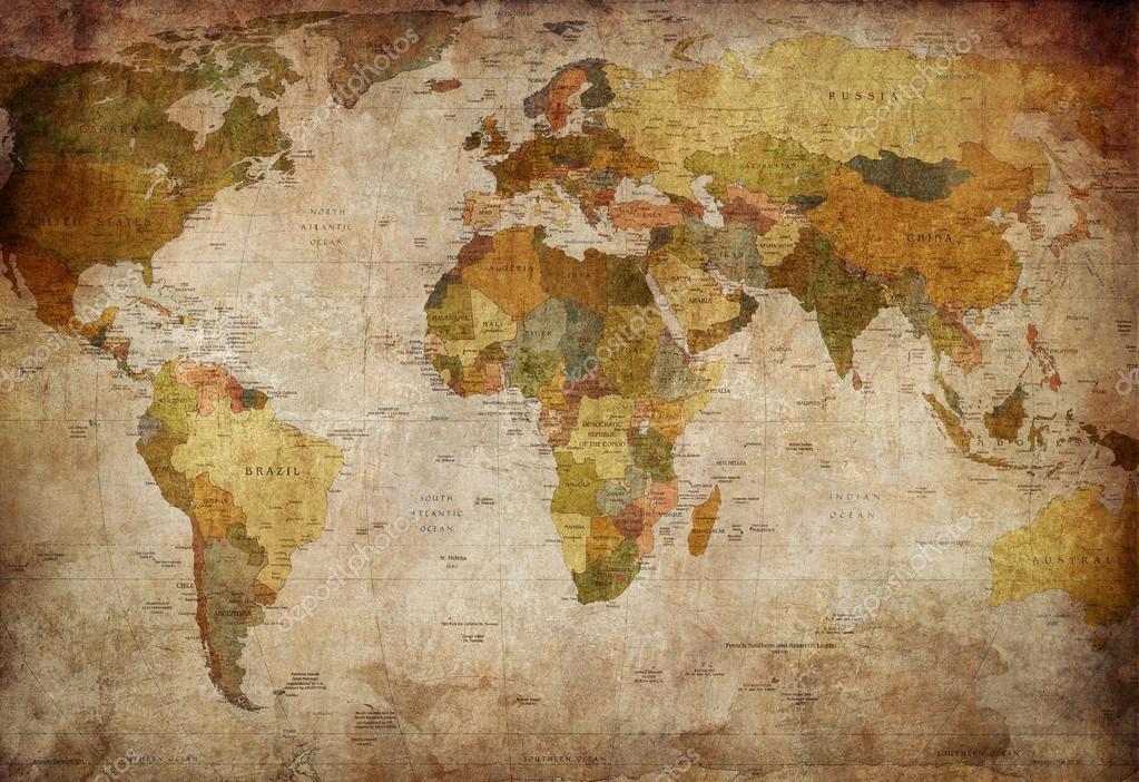 Карта мира, винтаж