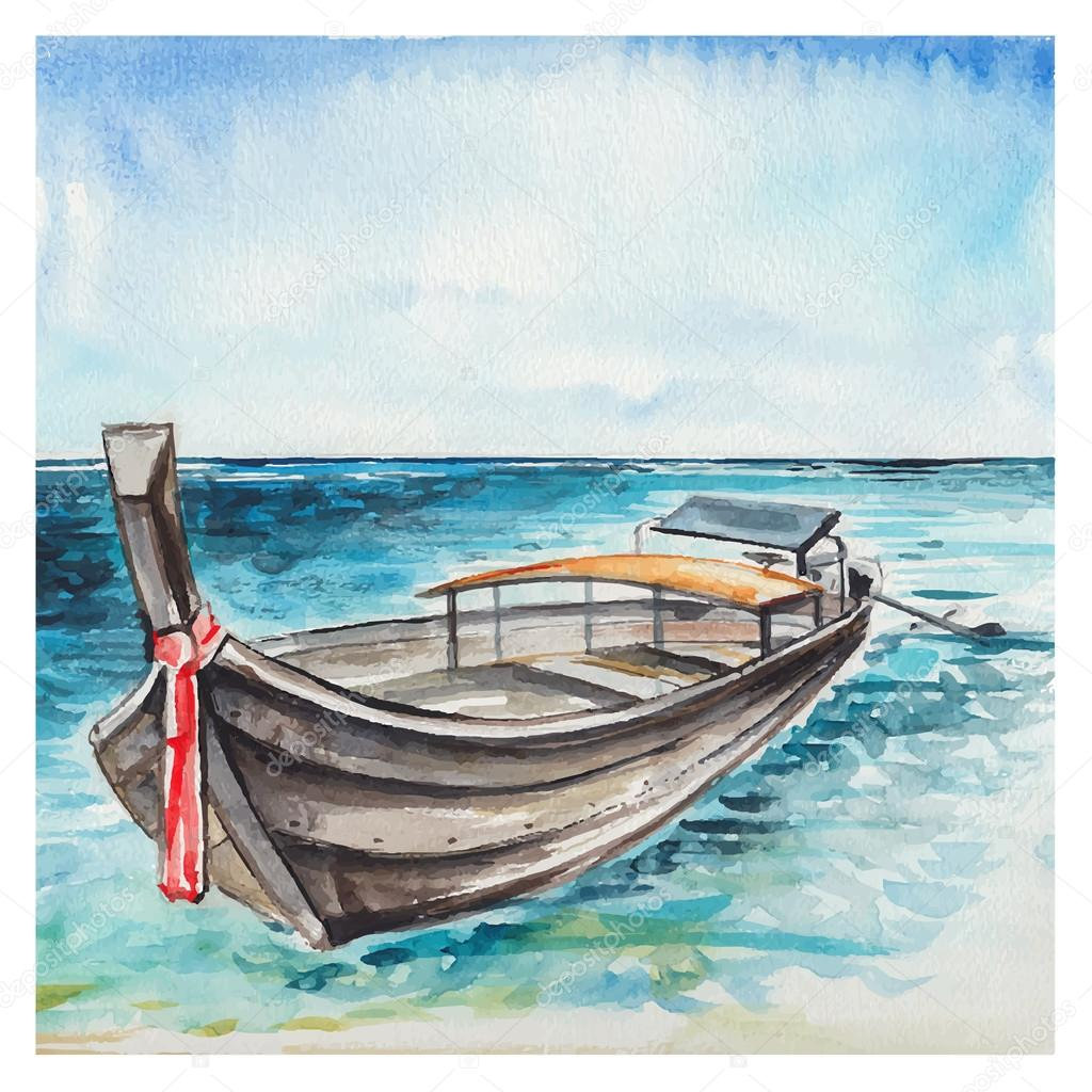 Лодка, акварель