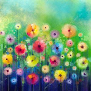 """Акварель """"Абстрактные цветы"""""""
