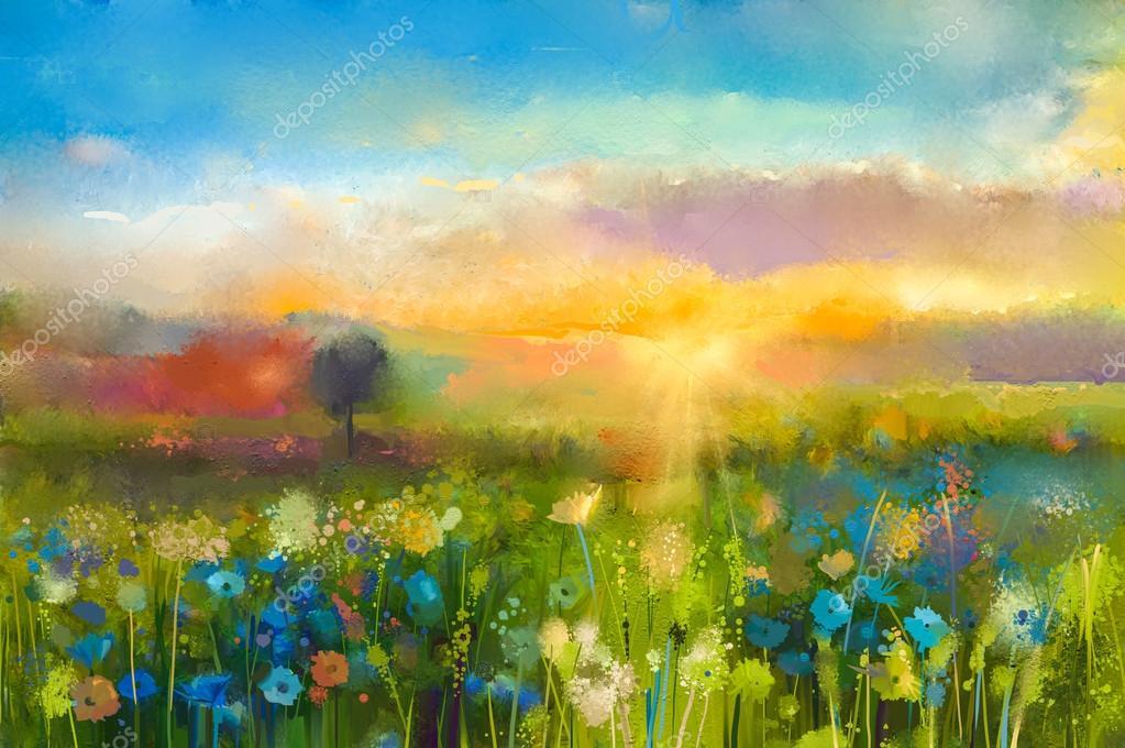 Акварельный пейзаж с голубыми цветами