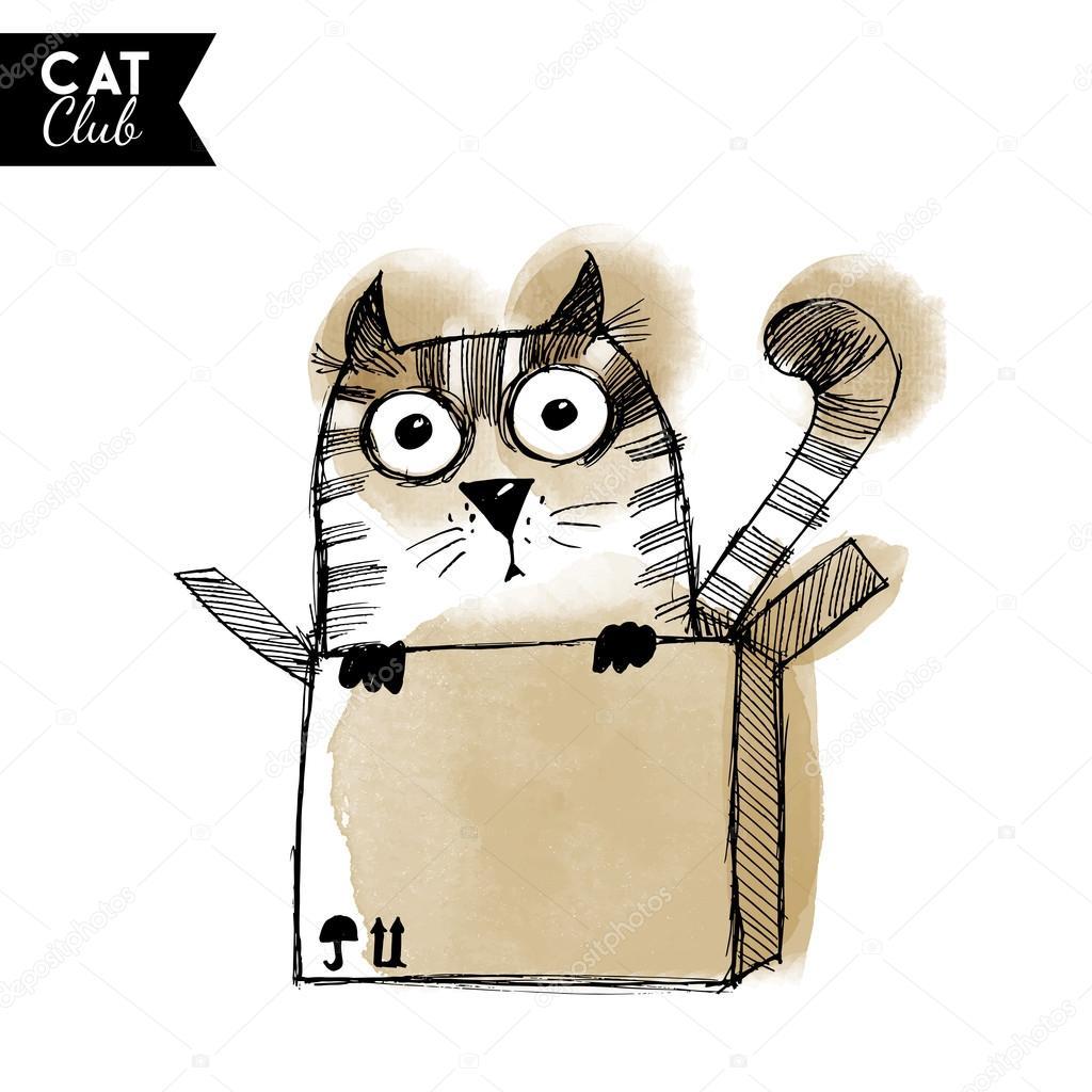 Акварельный котик